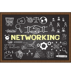 Networking on chalkboard vector