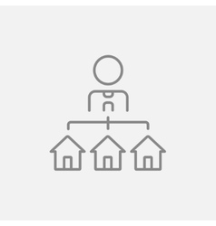 Real estate agent with three houses line icon vector