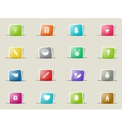 Easter day simply icons vector