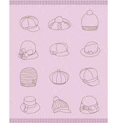 Set of womans hats vector