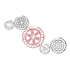 Red gear with black gears vector