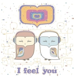 Owl love postcard vector