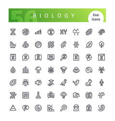 biology line icons set vector image