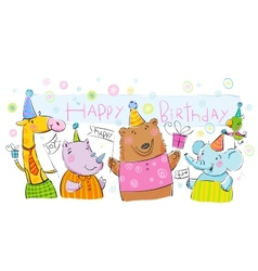 Birthday banner with animals vector