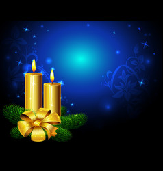 blue christmas background with golden candle vector image