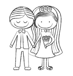 Blurred silhouette caricature couple in wedding vector