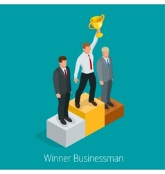 Businessman with Winner cup Winner concept vector image vector image