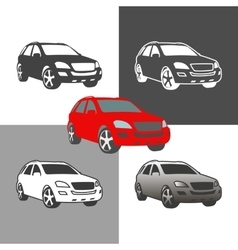 Car suv 4x4 vehicle silhouette icons colored and vector