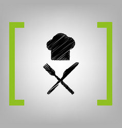 Chef with knife and fork sign black vector