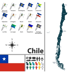 Chilean map with flags vector