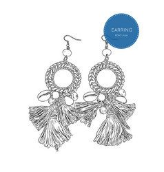 Drop earring bohemian fashion style sketch vector
