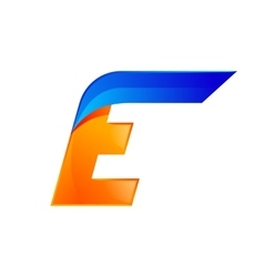 E letter blue and orange logo design fast speed vector
