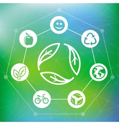 ecology concept with recycle emblem vector image vector image