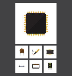 Flat icon appliance set of microprocessor repair vector