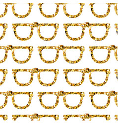 Gold glasses seamless pattern on white backgroung vector