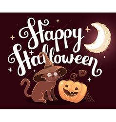 halloween with orange pumpkin cat in witch vector image vector image