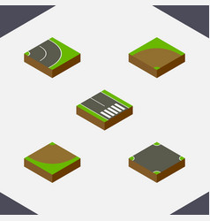 Isometric way set of asphalt crossroad vector