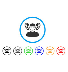 Listener guy rounded icon vector