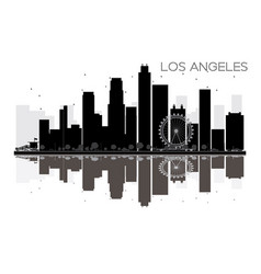 Los angeles city skyline black and white vector