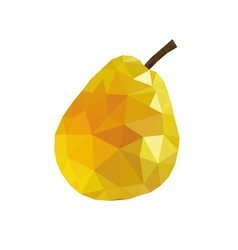 Low poly pear icon Yellow vector image vector image