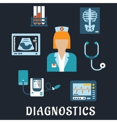 Medical diagnostic procedures flat icons vector
