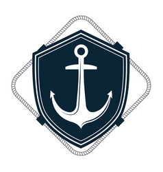 Nautical frame with anchor vector