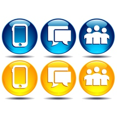 Phone group speech bubble communication icons vector