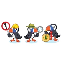 Puffin mascot with money vector