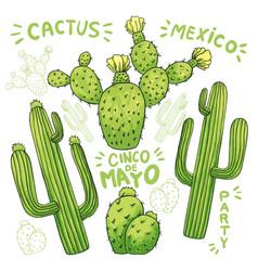 set of edible cactus or cacti for cinco de mayo vector image