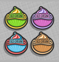 set of ice cream labels vector image