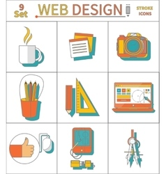 Set Thin Line Icons of Web Design vector image