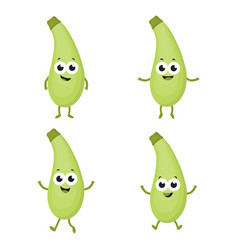 set with cartoon zucchini vector image vector image