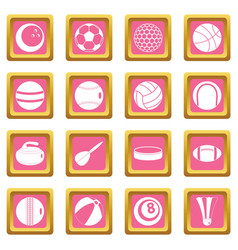 sport balls icons pink vector image vector image