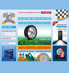Tire shop website vector