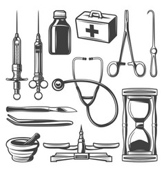 Vintage medical icons collection vector