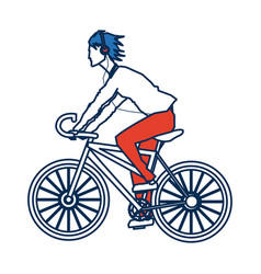 Young guy riding cycle listen music with vector