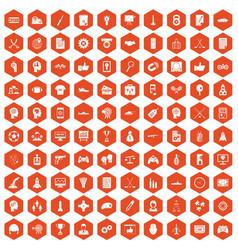 100 strategy icons hexagon orange vector
