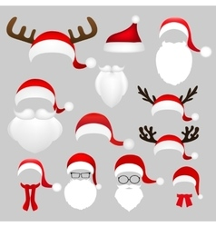 Templates for picture reindeer antlers and a hat vector