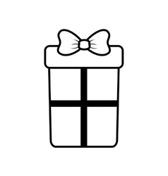 Big gift box with bow outline vector