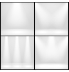 Empty white interior photo studio room with lamps vector