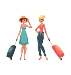 Two girls in dress and jeans travelling together vector