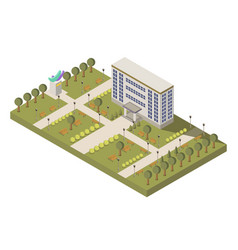 Isometric university and campus composition vector