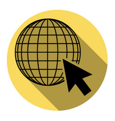 earth globe with cursor  flat black icon vector image