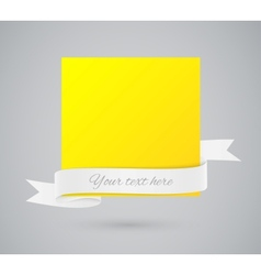Abstract yellow card with ribbon vector