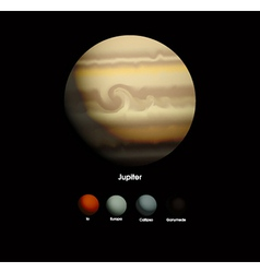 Jupiter and moons vector