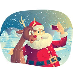 Santa claus and rudolph taking a photo together vector