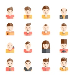 Man faces icons flat vector