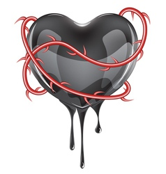 Bleeding black heart vector