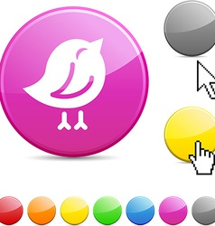 Bird glossy button vector