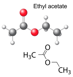 Formula and model of ethyl acetate molecule vector